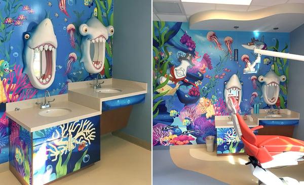 underwater shark brushing station