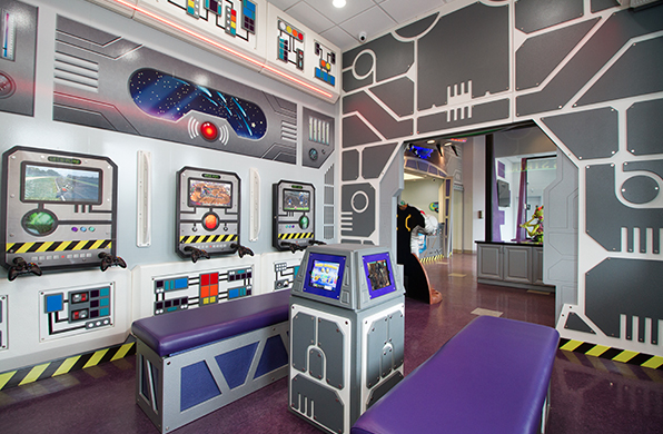 space themed play area for kids