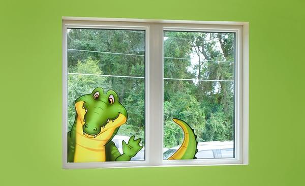 alligator sticker on the window