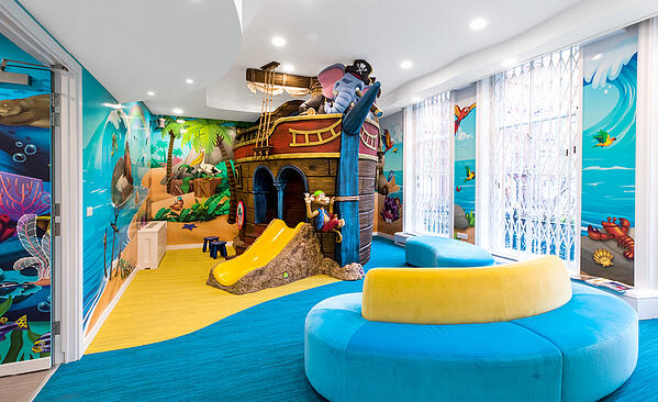 A pirate ship play area in a underwater themed kids play area.
