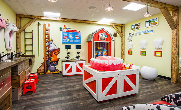 Farm themed dental education room with tooth brushing demo and microscopic slides of plaque.